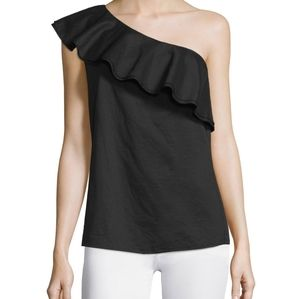 NWT Theory Damarill One Shoulder Ruffle Top